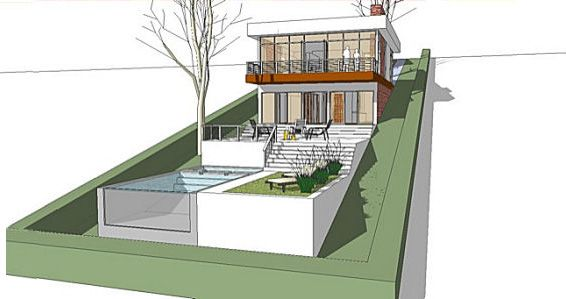 A Home Built On A Slope Interior Design Inspiration Eva Designs Sloping Lot House Plan Architecture House Modern House Plans