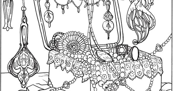 Jewlery coloring pages ~ printable coloring page by Dover Publications art nouveau ...
