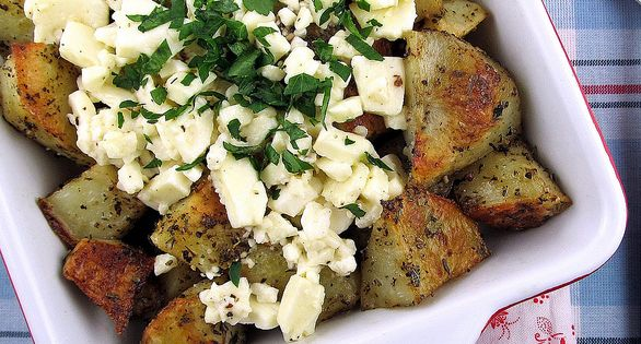 Roasted Greek Potatoes with Feta Cheese and Lemon recipe from Cinnamon Spice