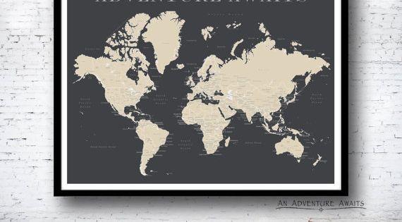 Welt Push Pin Karte Nur Drucken Reise Karte Karte Poster
