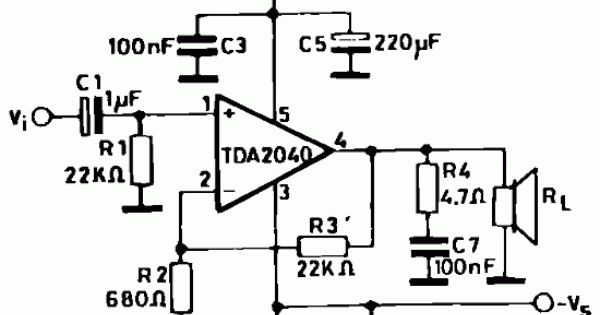 audio amplifier with tda2040