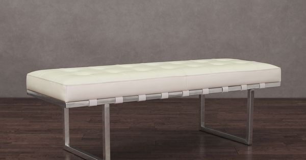 Andaluc A White And Stainless Steel Modern Leather Button Tufted Bench By I Love Living Steel