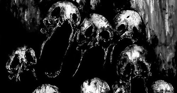 death skulls art Black and White creepy horror dark skull ...