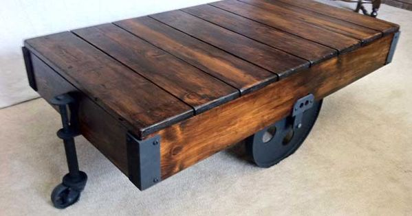 Diy factory cart coffee table cart coffee table restoration hardware and restoration Restoration coffee tables