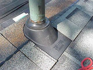 Plumbing Vent Boot On Roof Asphalt Roof Shingles Roofing Roof Shingles