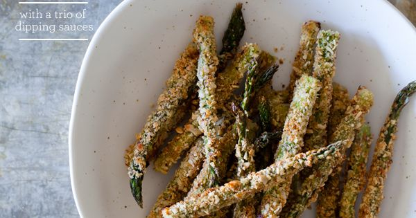 Baked asparagus fries. Great party food idea.