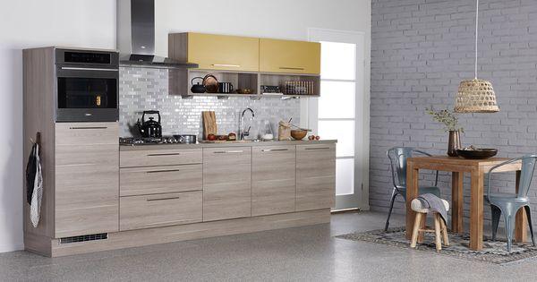Bruynzeel atlas keuken in de kleuren verona eiken trendkleur saffraan keuken pinterest - Redo keuken houten ...