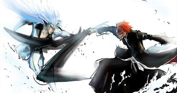 Kurosaki Ichigo vs Grimmjow Black Sword mask bleach anime