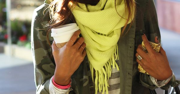 Neon scarf. Adds a hint of fun, fearlessness, and brightness to a