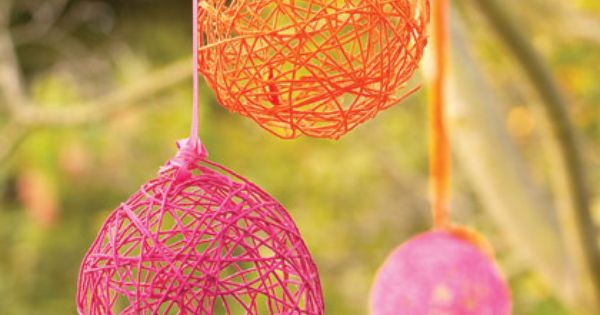 Kids~ Yarn Eggs for Party Decor- made from yarn, balloons, and a