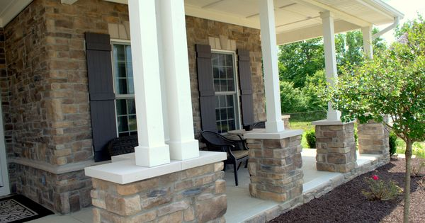 Beautiful stoned front porch copperton laytite and cut for Pictures of beautiful front porches