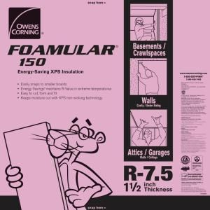 Foamular 150 1 1 2 In X 4 Ft X 8 Ft R 7 5 Scored Squared Edge Rigid Foam Board I Foam Insulation Board Rigid Foam Insulation Extruded Polystyrene Insulation
