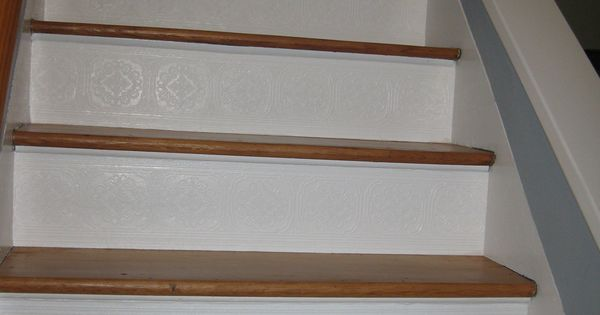 Stair Risers Finished With Paintable Textured Wallpaper