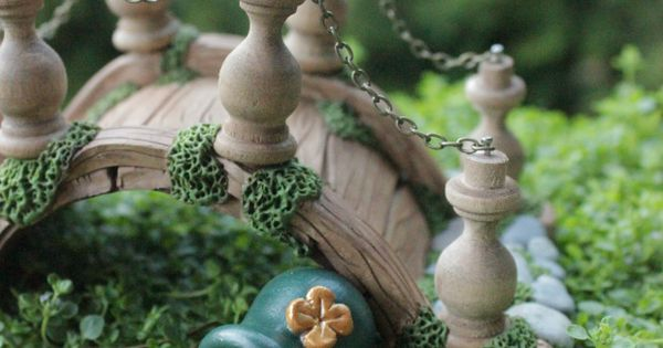 Leprechaun irish pot of gold miniature fairy garden for Irish fairy garden