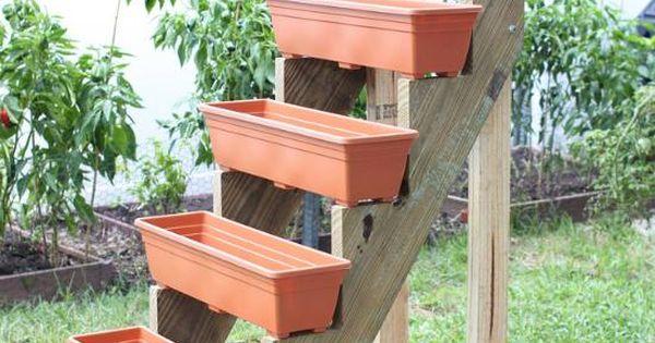 DIY Vertical Planter Garden, stair risers
