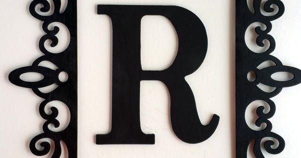 black ornate frame large letter wall decor framed. Black Bedroom Furniture Sets. Home Design Ideas