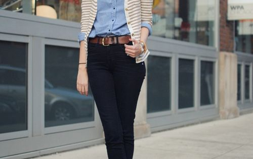 work outfit: blue button-up shirt, black skinny pants, nude ankle boots, leather