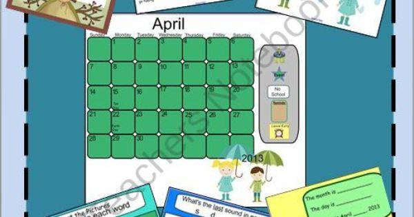 Kindergarten Calendar For Promethean Board : April fun smartboard calendar and activities product from