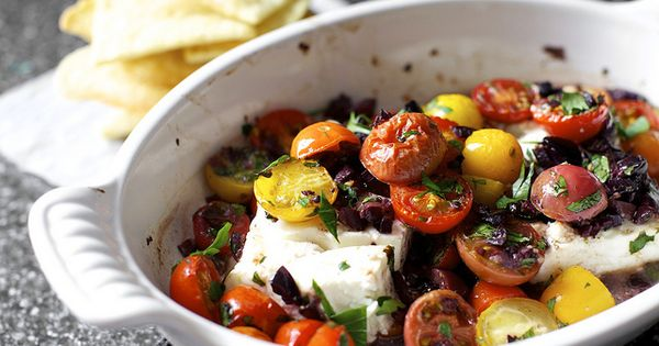 mediterranean baked feta with tomatoes yummy food Great Food food
