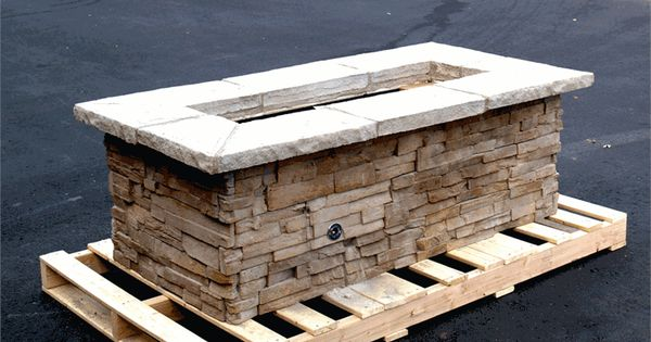 Gas fire pits 61 x 31 rectangle custom stone fire pit for Rectangular stone fire pit
