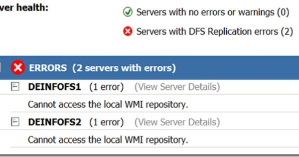 DFS Replication Health Report - Cannot access the local WMI