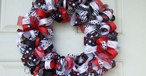 Razorback Classroom Decor : Razorback ribbon wreath door decor