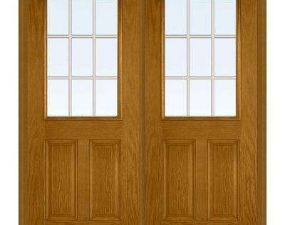 72 In X 80 In Tan Internal Grilles Left Hand Inswing 1 2 Lite Clear 2 Panel Stained Fiberglass Oak Prehung Front Door Mmi Door Prehung Doors Front Door