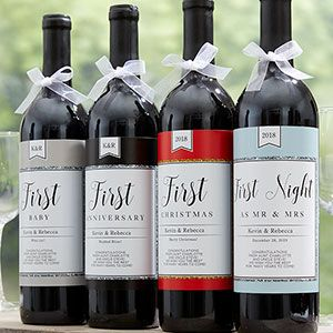 A Year Of Firsts Personalized Milestone Wine Labels Wine Bottle Labels Wedding Milestone Wine Label Photo Wine Bottle Labels
