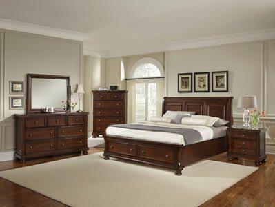 Reflections Sleigh Storage Bedroom Set Dark Cherry Finish Decor South Bedroom Design Furniture Bedroom Set