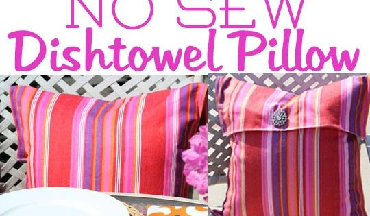 No-Sew-Pillow-cover for the outdoor pillow made from recycled plastic bags.