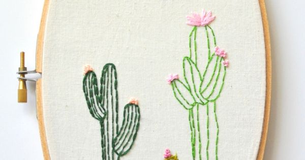 Cacti decor hand embroidery hoop art oval