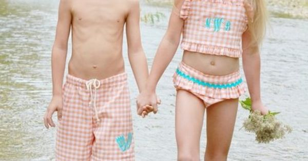 matching sibling monogrammed bathing suits