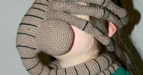 Xenomorph Knitting Pattern : A crochet facehugger from Alien. Outrageous Knitted Hats ...