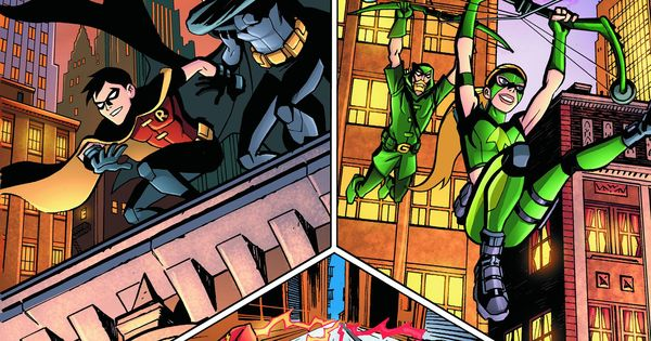 Young Justice Mentors and Protégés Robin and Batman Artemis and Green Arrow