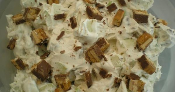 Snickers Salad Recipe - Food.com - Great for parties (cream cheese, powdered