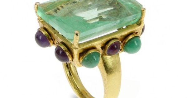 Bounkit Flourite, Amethyst, And Emerald Ring