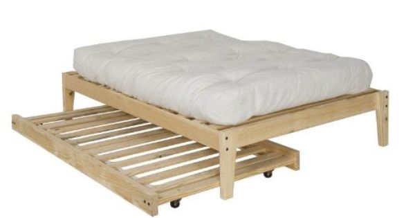 Twin Size Trundle Bed Frame Unfinished Wood 100 Clean Solid Wood No Toxins Made In America Trundle Bed Frame Trundle Bed Bed Frame