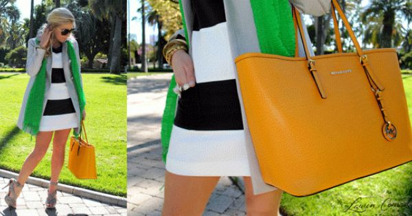 Striped Dress. Neon Green Scarf. Mustard Bag.