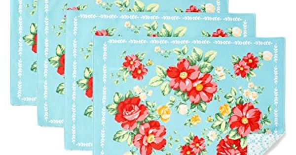 The Pioneer Woman Vintage Floral Design Placemat Set Of 4 Reversible Pioneer Woman Kitchen Pioneer Woman Kitchen Decor Pioneer Woman