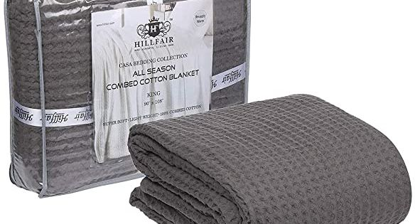 100/% Soft Cozy Combed Cotton Thermal Blankets All Season Light Weight Blue King