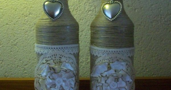 Oude legen flessen leuk versieren met van alles en nog wat in dit geval binddraad jute en - Versieren van een smalle gang ...