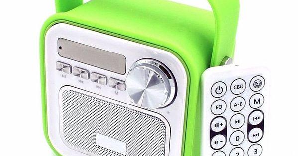 Mini Bluetooth Lautsprecher Mit Radio Fm In Grun Aux Bluetooth Usb Anschluss Fernbedienung Uhrzeit Kuchenradio Badr Fernbedienung Radios Bluetooth Lautsprecher