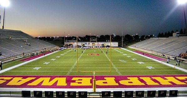 Central Michigan Chippewas Kelly Shorts Football Stadium Central