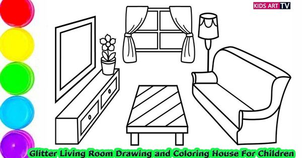 Glitter Living Room Drawing And Coloring House For Children How To Draw Art For Kids Drawing For Kids Bedroom Drawing Living room drawing with tv