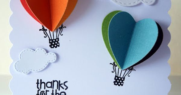 hearts for hot air balloons. diy card