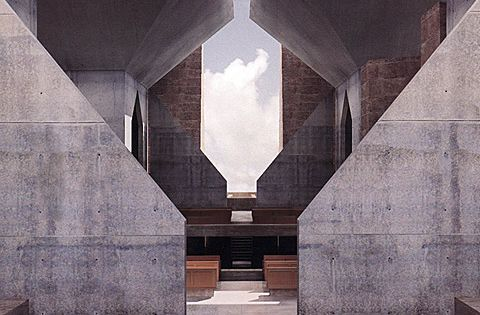 Louis Kahn's unbuilt Hurva Synagogue, as rendered by Kent Larsen for the