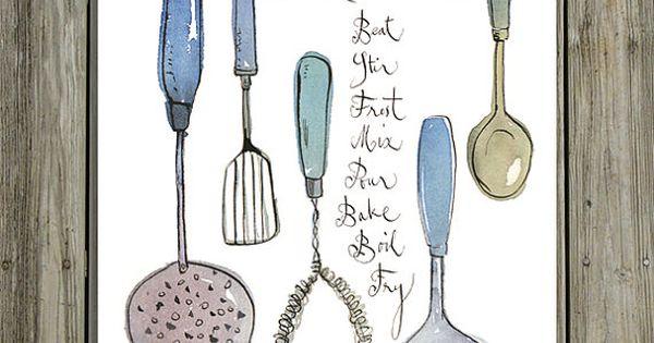 Ustensiles de cuisine illustration affiche cuisine for Ustensiles de cuisine retro