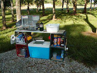 Poor Man S Camp Kitchen Fiberglass Rv Outdoor Camping Kitchen Camping Kitchen Set Up Camping Kitchen Set