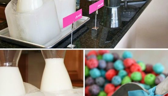 DIY Ice Block Buckets for Milk...a cereal bar would be so cute