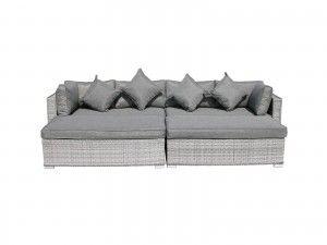 Monaco Rattan Garden Day Bed Set In Grey Grey Rattan Furniture Garden Day Bed Garden Sofa Set